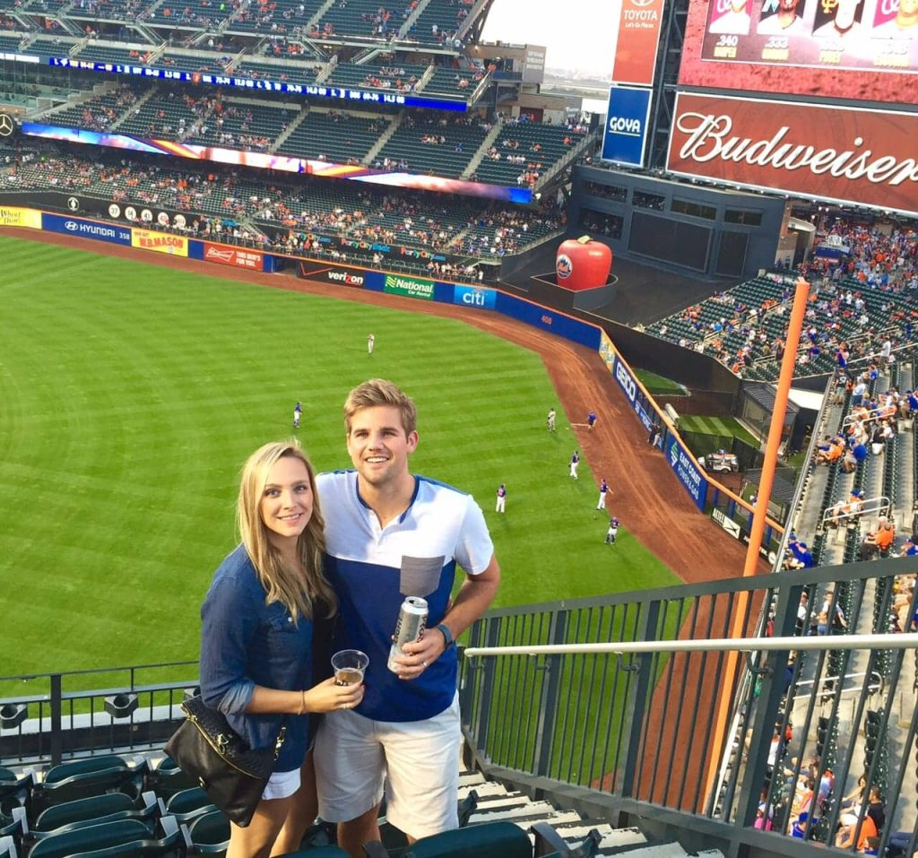 Casey and Finn at a NY Mets baseball game