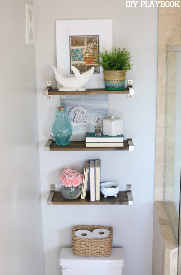 bathroom shelves over toilet - diy playbook