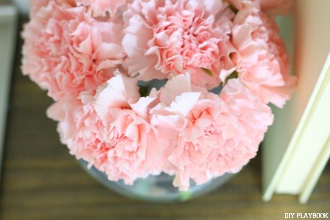 Carnations in Flower Bowl