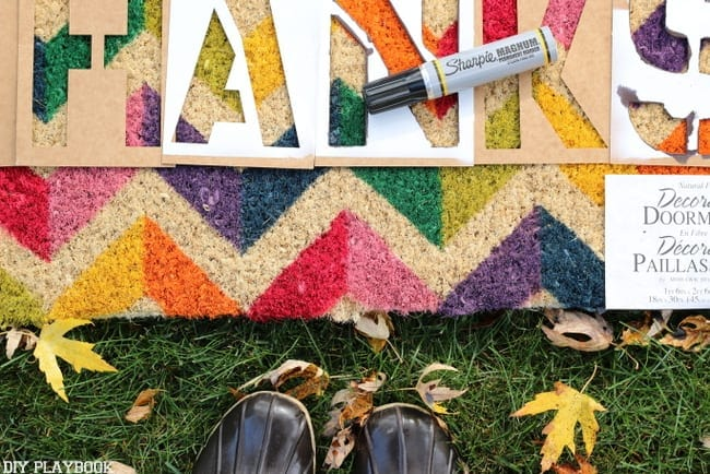 stencils and magic marker are the supplies you need for this diy doormat