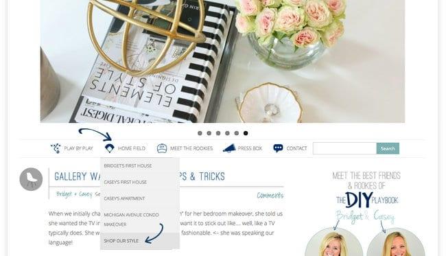 Shop the look screenshot homepage