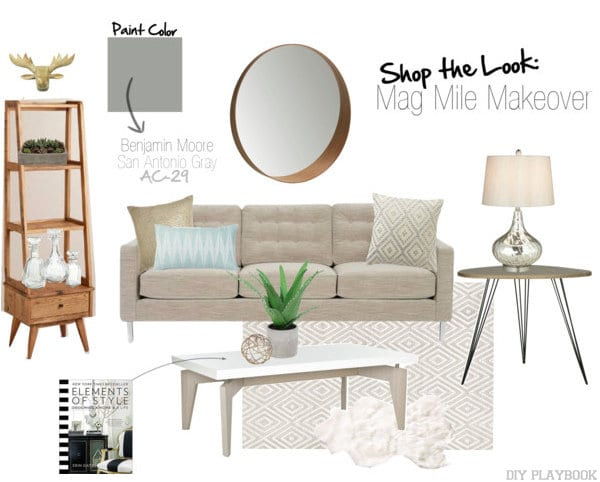 mag mile makeover living room shop the look mood board