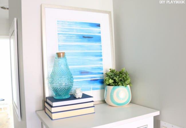 Blue Accessories on Dresser