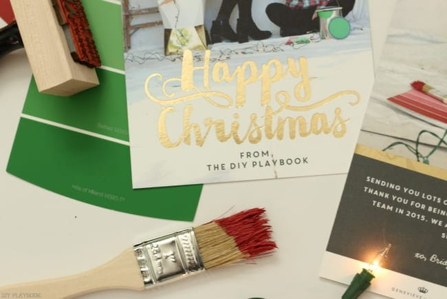 Happy Christmas card paint brush