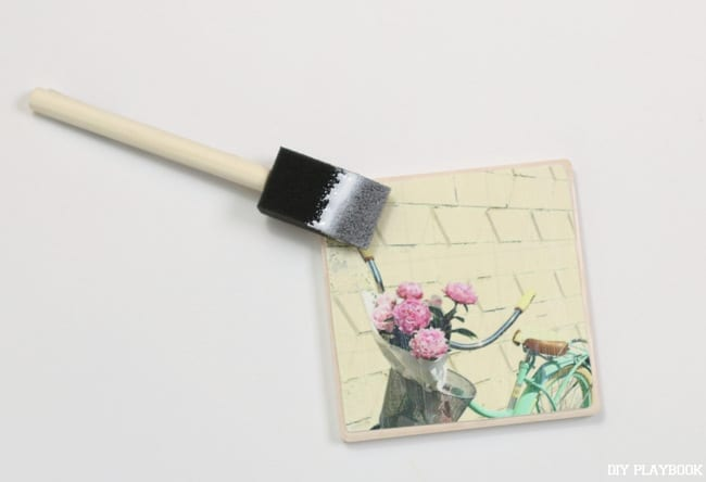 Apply the photo to the tile coaster and let set.