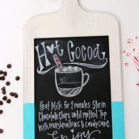 DIY Chalkboard sign with a hot cocoa recipe.