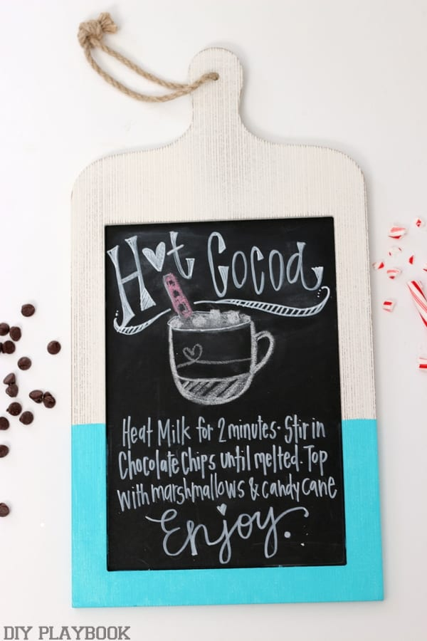 Hot cocoa recipe hanging sign.