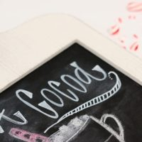 DIY Chalkboard sign with hot cocoa recipe.