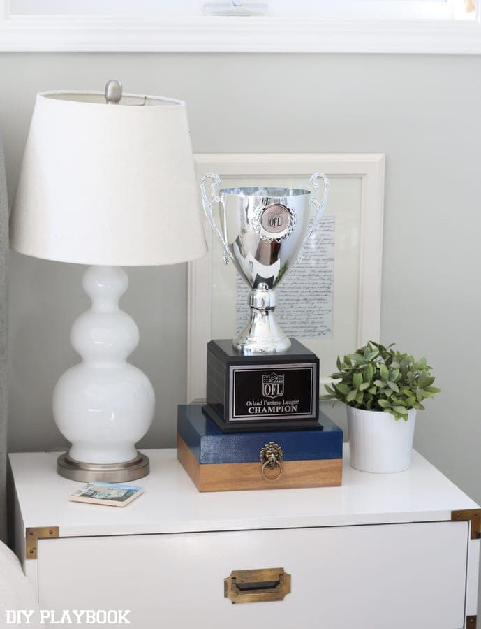 the trophy hung out on the bedside table for a while