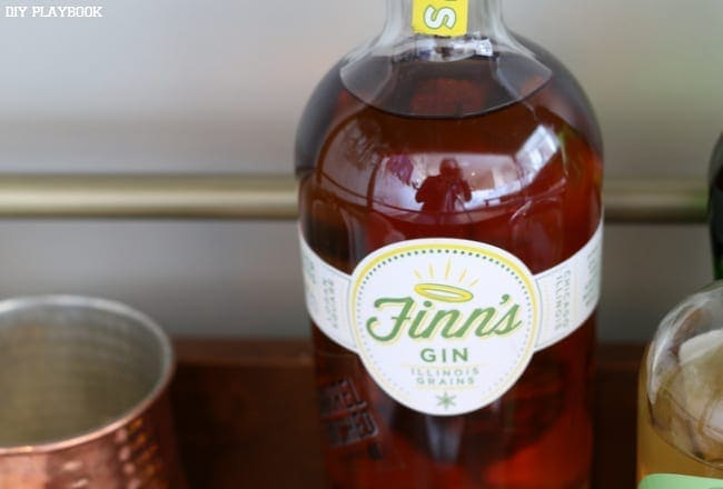 This personalized gin bottle is a fun decor element on the bar cart.