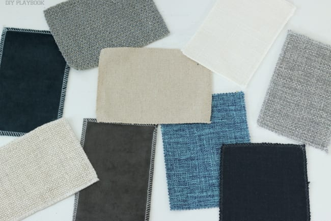 Swatch samples from Interior Define. Choose your favorite color and fabric for your next sofa!