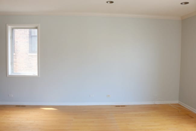 The blank wall that we put the built-ins on.