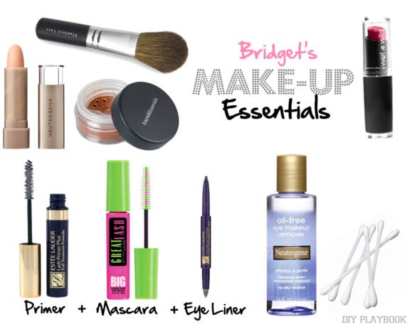 Bridget's makeup essentials are shown here. Everything from mascara to lipstick to eye liner.