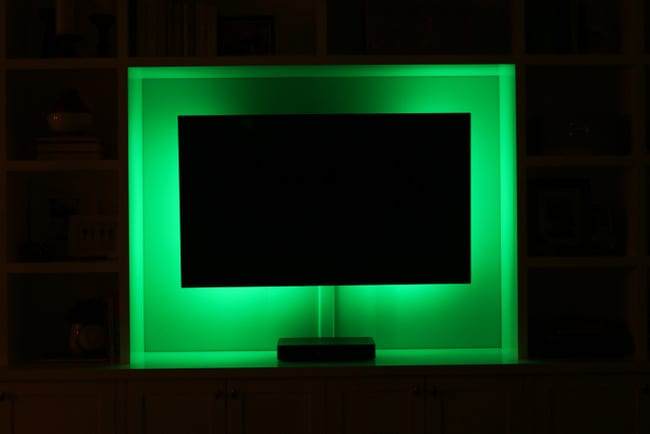 how to add led lights behind your flat screen television. Black Bedroom Furniture Sets. Home Design Ideas