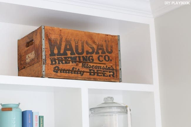 I love this vintage wooden beer crate from Wisconsin!