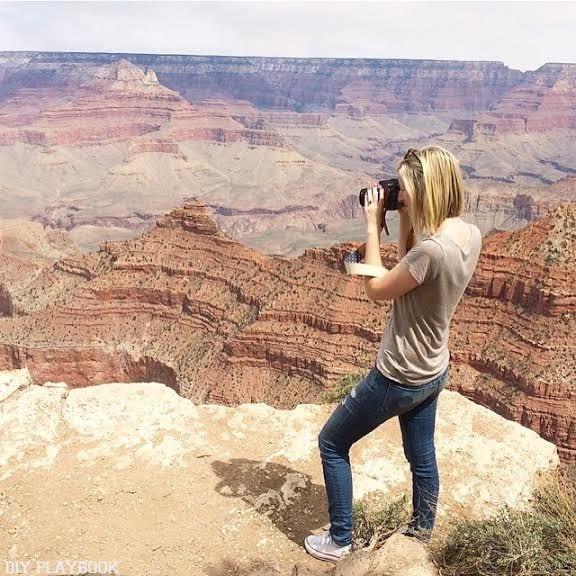 Taking photographs of the grand canyon