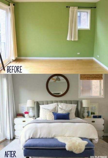 Master bedroom makeover before and after photos.