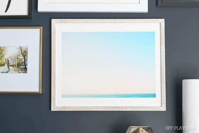 Love how this beach scene comes together in this piece. Again the blues are great with the navy wall.