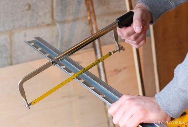 cutting-ikea-rail-with-saw