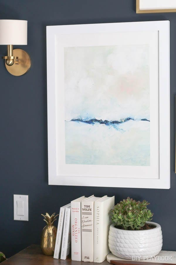This abstract piece is perfect - just the right splash of color against the white.