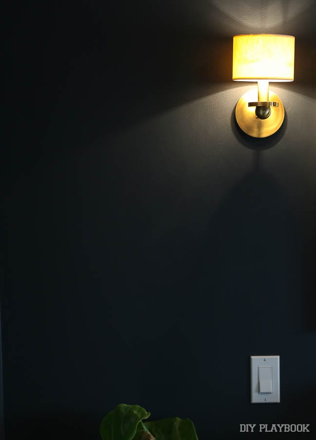 The new guest room wall sconces are gorgeous in white and gold, but I think they need a cooler bulb.