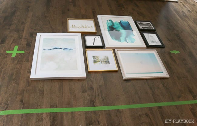 To create a gallery wall, I always lay out the prints on another surface first to see how they will look together.