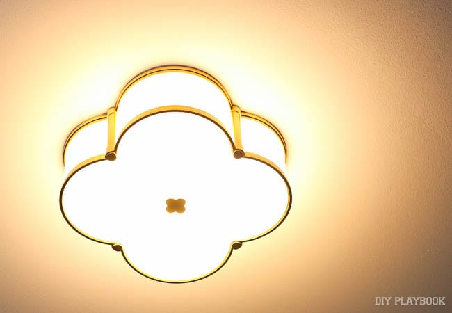 My new ceiling light glows bright!