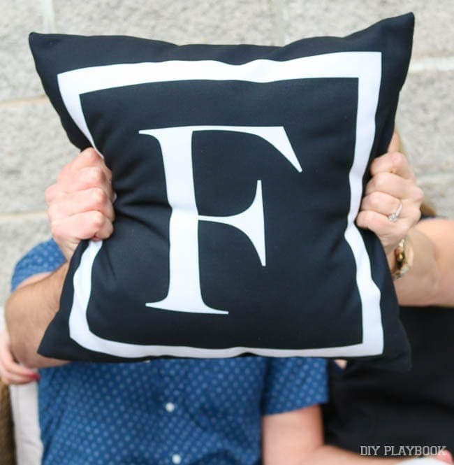 "And ""F"" monogrammed throw pillow for Finn."