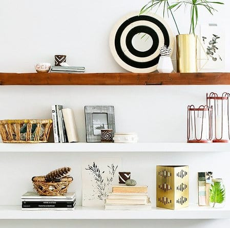 These decorated shelves look great with books, candle holders, plants and more.
