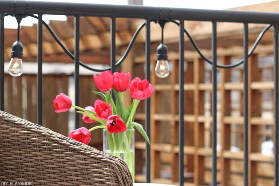 Love this little outdoor lights on our balcony, and the tulips make it feel like spring!