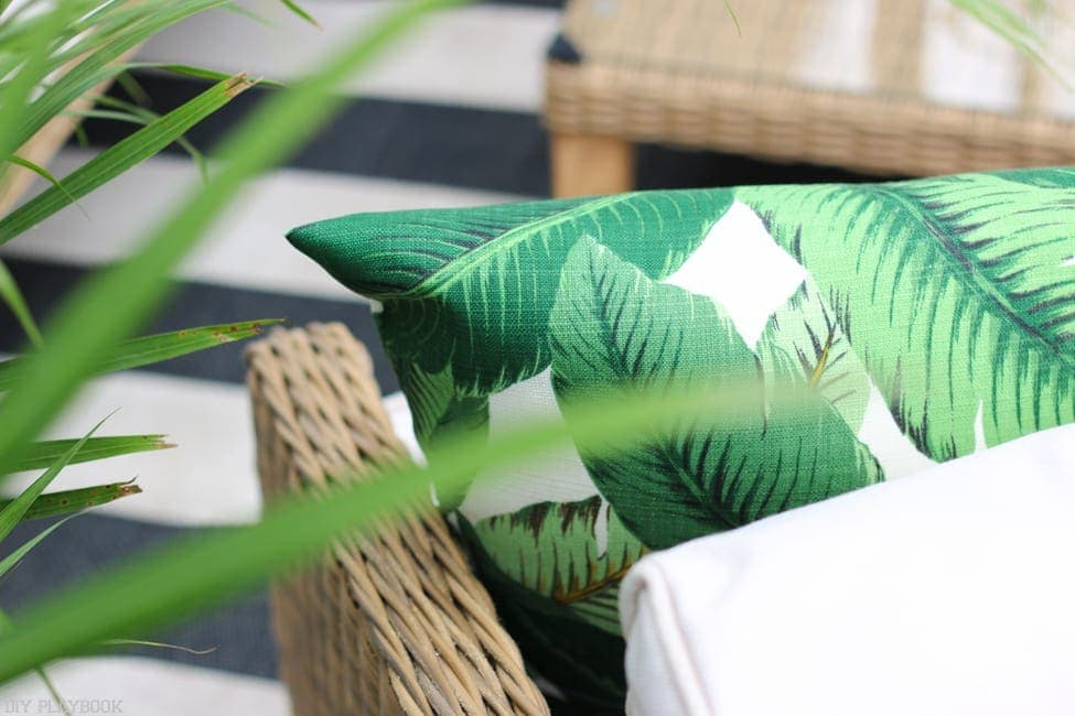 Got these palm print frond pillows off Etsy for our new balcony decor!