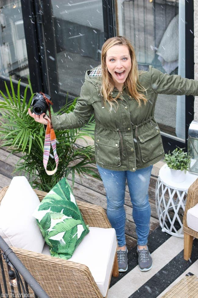 Surprise! It was snowing when we took these photos of our new patio decor from Wayfair. Can you believe this Chicago weather?