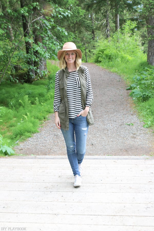Here I am ready for a hike! Casual was the look in Alaska this summer. I'm rocking jeans, a long sleeve tee, a wide brimmed hat and a vest to hold m bug spray!