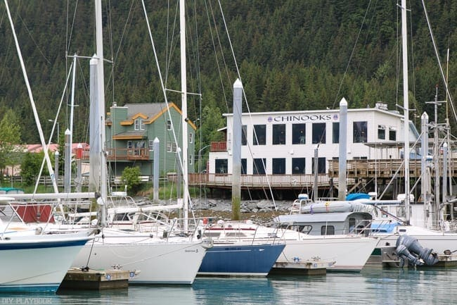 Sailboats line the dock in this Alaskan town.