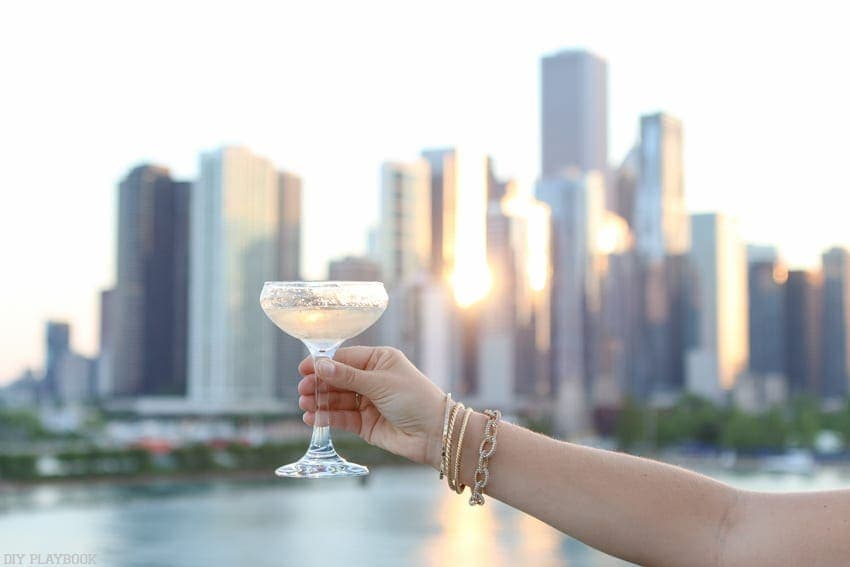 A glass of prosecco at Navy Pier on a boat ride in Chicago