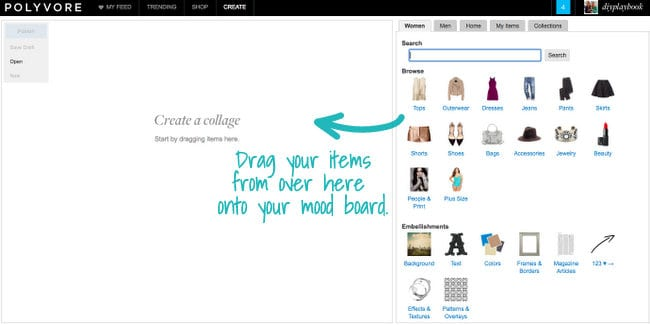 Polyvore has so many features that make it easy to navigate