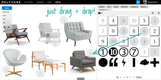 You can drag and drop items from your profile into your mood board