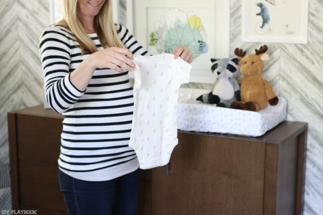 Clothing can also be neutral: Gender Neutral Nursery Reveal | DIY Playbook