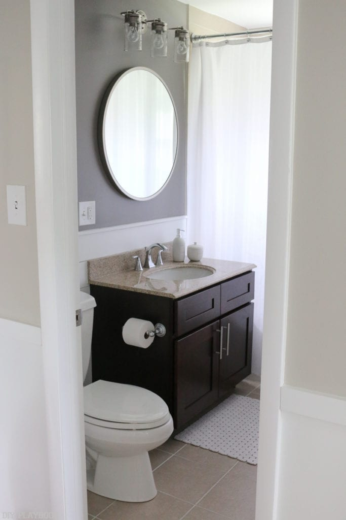 Bathroom Makeover With Bold Paint Vanity Lights The Diy Playbook