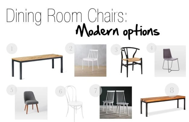 Dining Room Chair Options: Our modern choices for Casey's dining room.