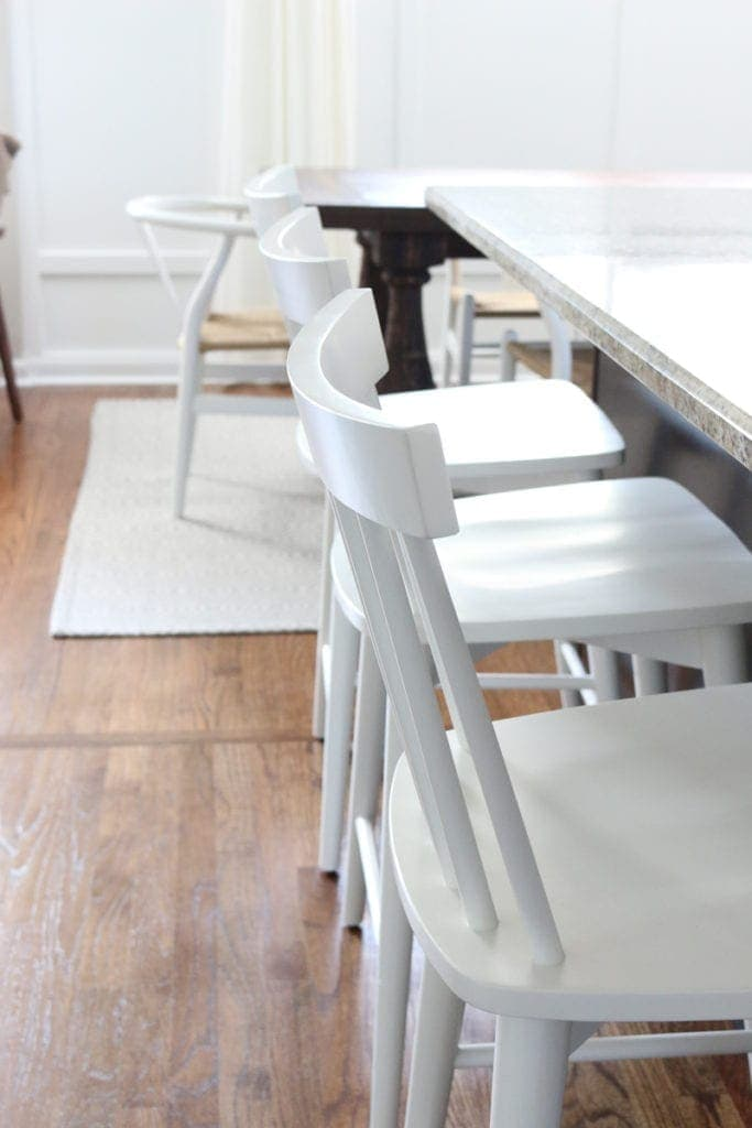 Love my new white kitchen counter stools! Here's to new counter stools on a budget - these babies really open up the room!