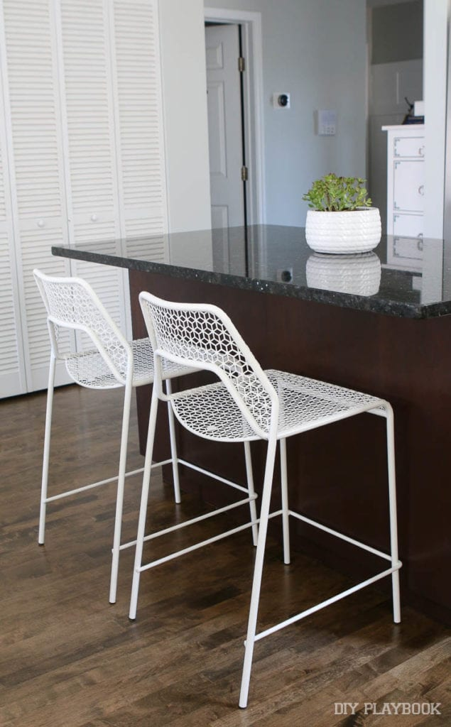 these stools are a perfect addition to the breakfast bar