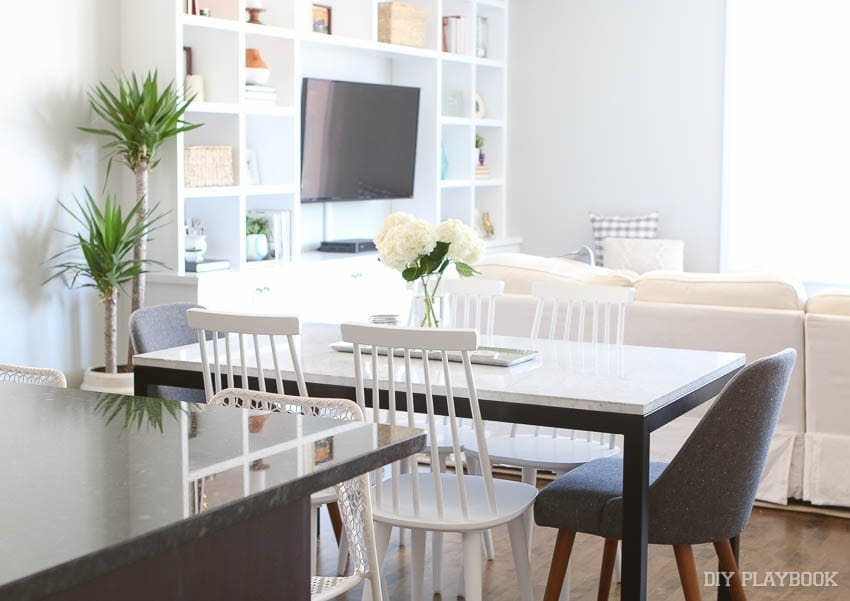 this open concept dining room is small but we made use of all the space