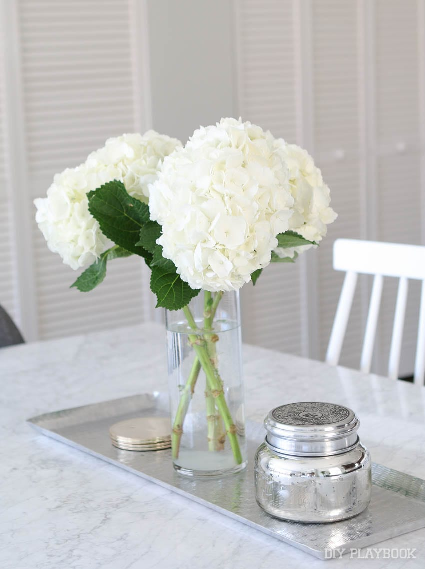 hydrangea flowers for the dining room table