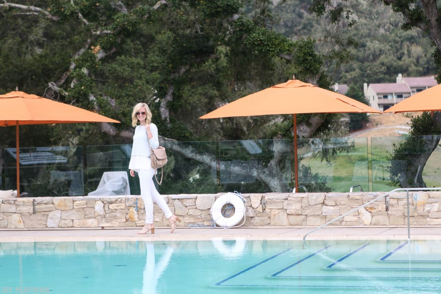 Wearing white by the pool at the Carmel Valley Ranch.