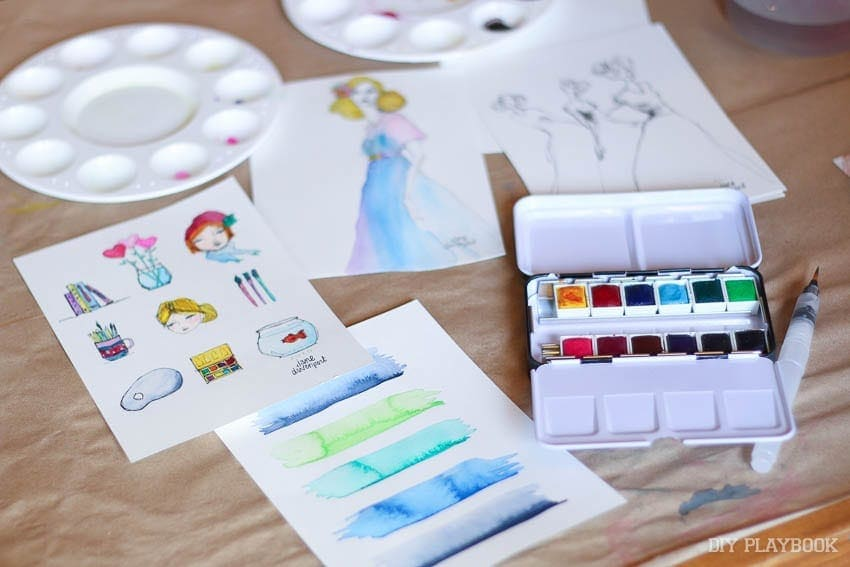 Water color painting at the Michael's Makers Summit.