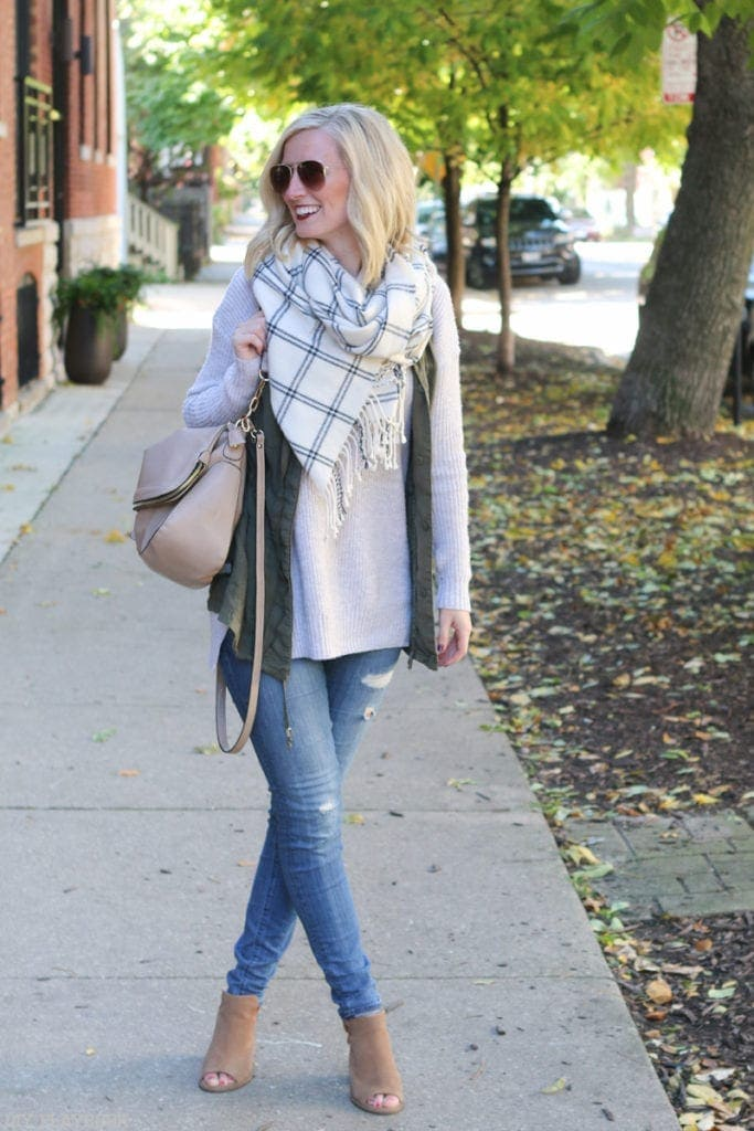 Bridget in long cream colored sweater with a plaid blue and white scarf. Just one of many great fall looks!