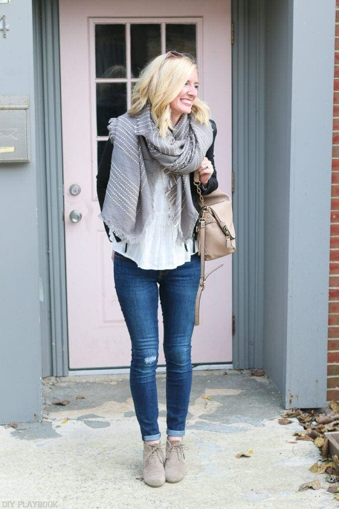 TOMS booties look great with Bridget's oversized scarf and skinny jeans.  | DIY Playbook