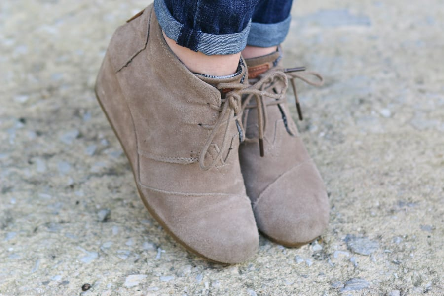 TOMS booties look great with jeans!