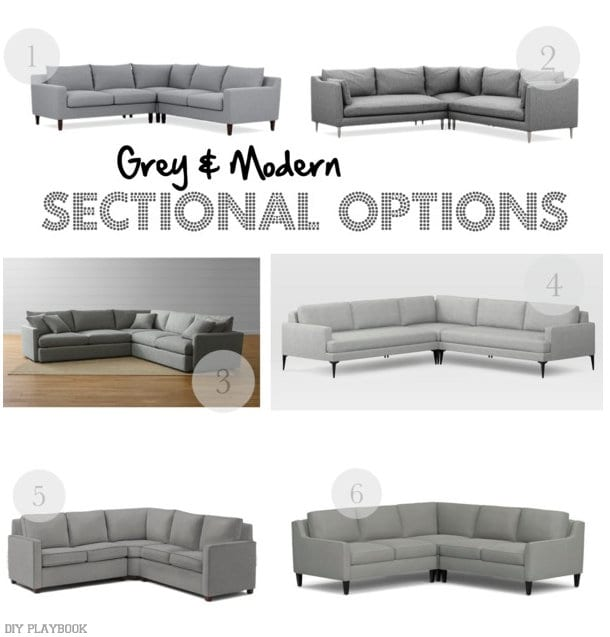 Grey and modern sectional options